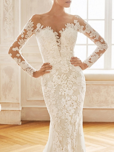 Mermaid \ Trumpet V Neck Sweep \ Brush Train Chiffon Lace Long Sleeve Half Sleeve Vintage Sexy Wedding Dress in Color See-Through Backless Wedding Dresses_3
