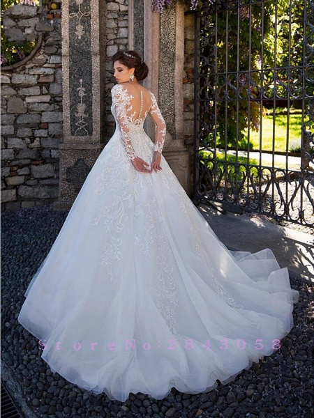 Ball Gown Jewel Neck Court Train Lace Tulle Long Sleeve Plus Size Illusion Sleeve Wedding Dresses_2