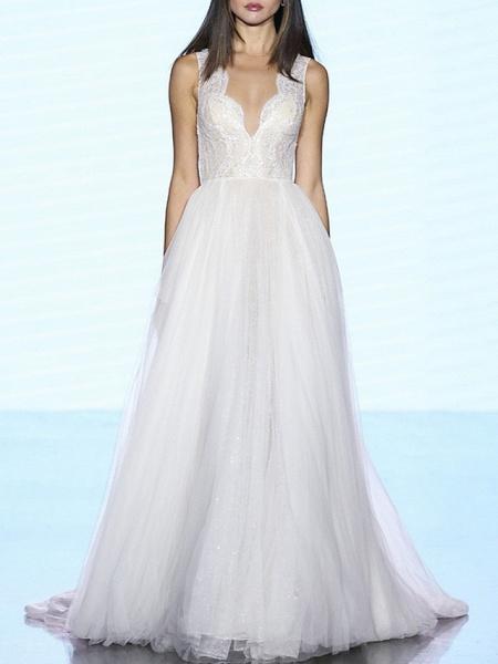 A-Line Wedding Dresses V Neck Sweep \ Brush Train Lace Tulle Regular Straps Plus Size_1