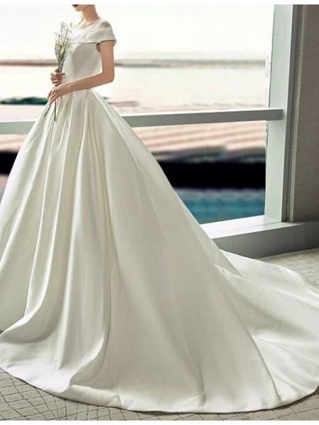A-Line Jewel Neck Sweep \ Brush Train Lace Tulle Regular Straps Formal Plus Size Elegant Wedding Dresses_2