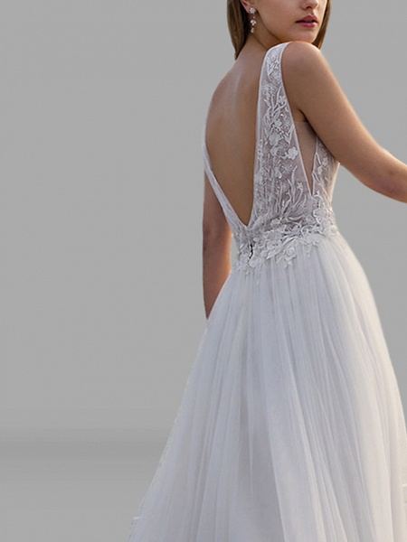 A-Line Wedding Dresses V Neck Floor Length Lace Tulle Sleeveless Beach Sexy See-Through Backless_3