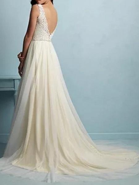 A-Line Wedding Dresses V Neck Sweep \ Brush Train Tulle Sleeveless Casual Plus Size_2