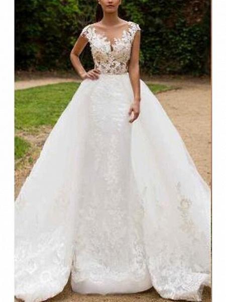 Mermaid \ Trumpet V Neck Sweep \ Brush Train Tulle Regular Straps Formal Wedding Dresses_1