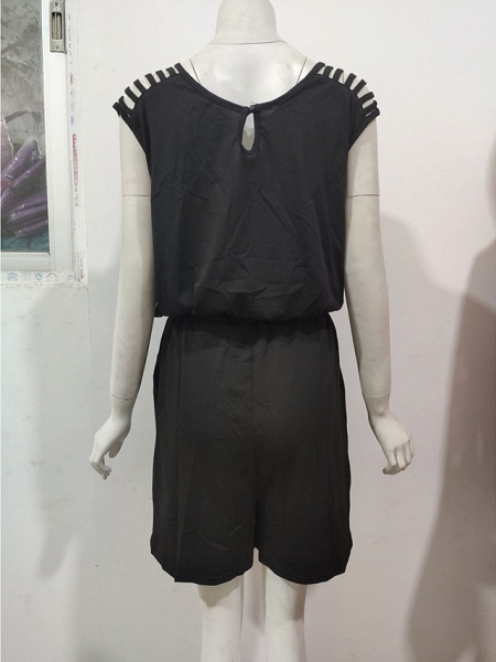 Women's Ordinary \ Basic Black Romper_5
