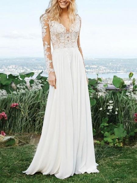 A-Line Wedding Dresses V Neck Sweep \ Brush Train Polyester Long Sleeve Vintage Illusion Detail_1