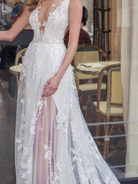 A-Line Wedding Dresses V Neck Sweep \ Brush Train Lace Tulle Jersey Sleeveless Beach Boho Sexy See-Through_3