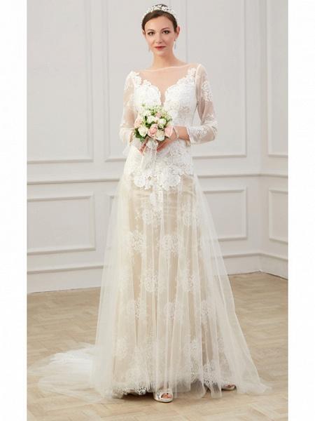 Sheath \ Column Wedding Dresses Jewel Neck Sweep \ Brush Train Lace Tulle Long Sleeve Formal Boho Plus Size Illusion Sleeve_3
