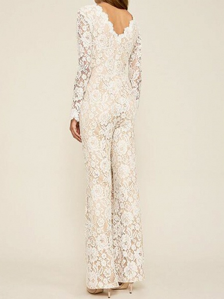 Jumpsuits Wedding Dresses Plunging Neck Floor Length Lace Long Sleeve Country Plus Size_2