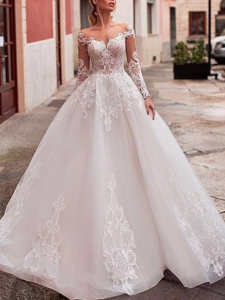 A-Line Wedding Dresses Jewel Neck Sweep \ Brush Train Lace Tulle Long Sleeve Formal Sexy See-Through Backless_1