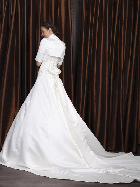 A-Line Wedding Dresses Square Neck Cathedral Train Satin Half Sleeve Vintage Separate Bodies_2