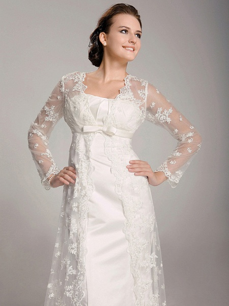 Sheath \ Column Wedding Dresses Square Neck Sweep \ Brush Train Lace Satin Long Sleeve_3