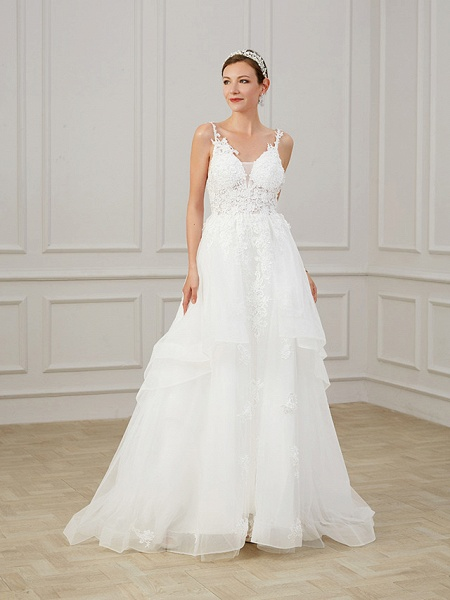 A-Line Wedding Dresses V Neck Sweep \ Brush Train Chiffon Lace Tulle Sleeveless Formal Plus Size_6