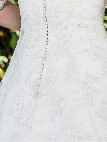 A-Line Scoop Neck Sweep \ Brush Train Lace Tulle Half Sleeve Country Plus Size Wedding Dresses_5