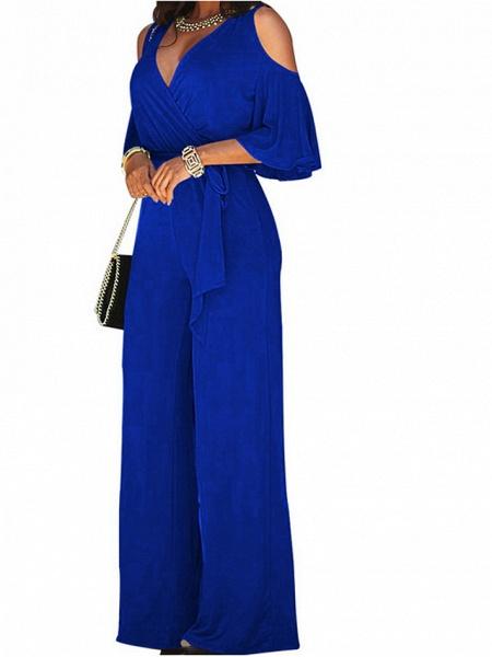Women's Wide Leg Cut Out Party Off Shoulder Black Wine Royal Blue Wide Leg Jumpsuit_1
