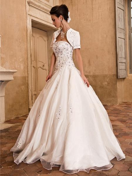Ball Gown Wedding Dresses Strapless Floor Length Satin Short Sleeve Sparkle & Shine_3