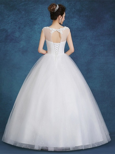 Ball Gown Wedding Dresses Scoop Neck Floor Length Satin Tulle Cap Sleeve Romantic See-Through Backless_2