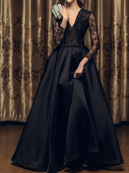 A-Line Wedding Dresses V Neck Floor Length Satin Long Sleeve Beach Black Illusion Sleeve_1