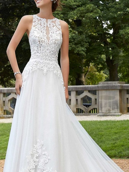A-Line Wedding Dresses Jewel Neck Court Train Lace Tulle Sleeveless Sexy Backless_3