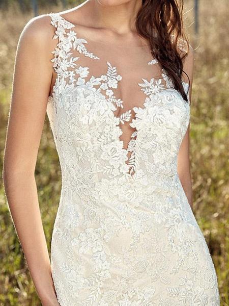 Mermaid \ Trumpet V Neck Sweep \ Brush Train Lace Tulle Chiffon Over Satin Sleeveless Country Plus Size Wedding Dresses_3