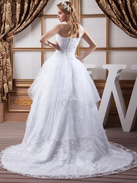 A-Line One Shoulder Court Train Lace Organza Satin Spaghetti Strap Wedding Dresses_3