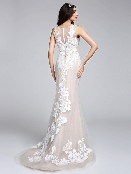 Mermaid \ Trumpet Wedding Dresses Bateau Neck Sweep \ Brush Train Tulle Floral Lace Regular Straps Romantic Boho Sexy See-Through Illusion Detail_1