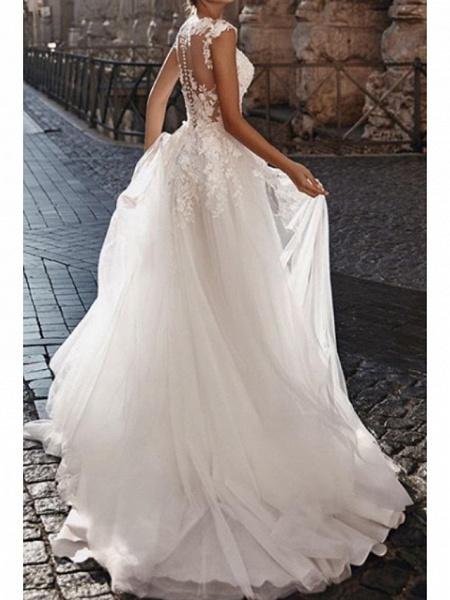 A-Line Wedding Dresses V Neck Court Train Lace Tulle Cap Sleeve Boho_2