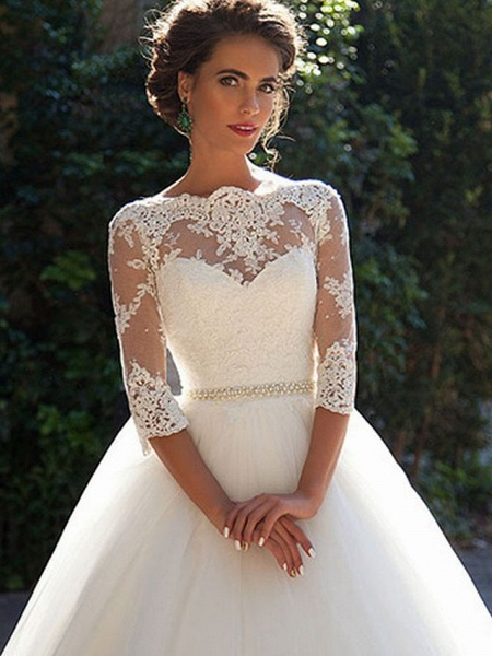 A-Line Wedding Dresses Off Shoulder Court Train Lace Tulle 3\4 Length Sleeve Formal Sexy Illusion Sleeve_3