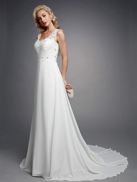 A-Line Wedding Dresses V Neck Floor Length Chiffon Lace Regular Straps Sexy_3