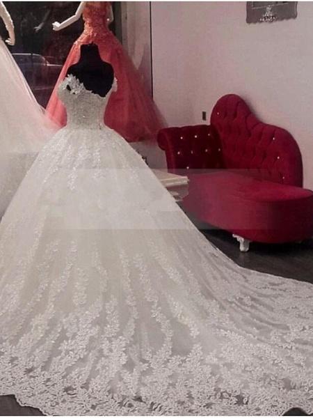 A-Line Off Shoulder Court Train Lace Cap Sleeve Wedding Dresses_2