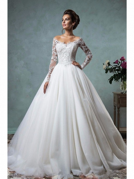 A-Line Wedding Dresses Off Shoulder Court Train Lace Tulle Long Sleeve Formal See-Through_1