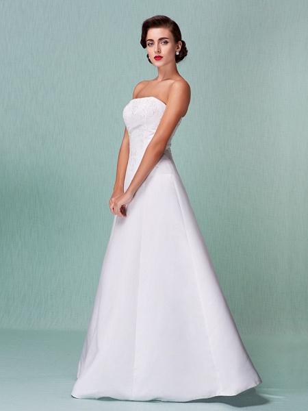 A-Line Wedding Dresses Strapless Floor Length Lace Over Satin Strapless Formal Simple Vintage Little White Dress Plus Size_7