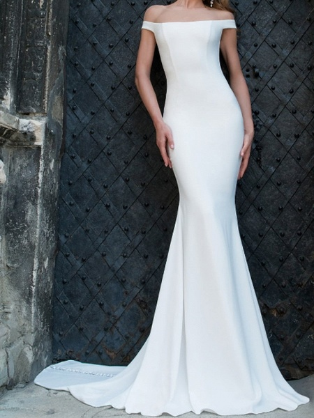 Mermaid \ Trumpet Wedding Dresses Off Shoulder Sweep \ Brush Train Tulle Stretch Satin Jersey Short Sleeve Country Plus Size_2
