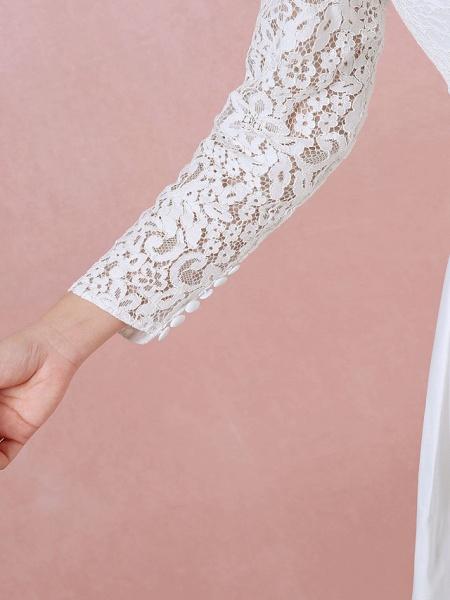 A-Line Wedding Dresses High Neck Floor Length Lace Satin Long Sleeve Formal Simple Plus Size_8