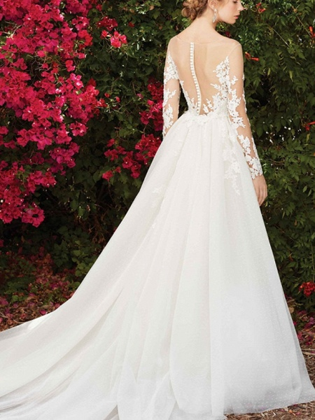 A-Line Wedding Dresses Jewel Neck Chapel Train Lace Long Sleeve Country Wedding Dress in Color_2