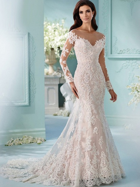 Mermaid \ Trumpet Scoop Neck Chapel Train Lace Tulle Lace Over Satin Long Sleeve Formal Sexy Beautiful Back Illusion Sleeve Wedding Dresses_1