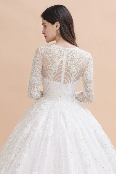 Long Sleeve Lace Crystal Beads Sheer Tulle Wedding Dress_6