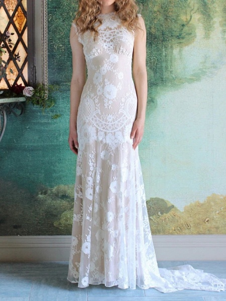 Mermaid \ Trumpet Wedding Dresses Jewel Neck Sweep \ Brush Train Lace Cap Sleeve Country_1