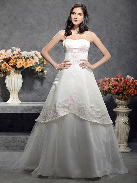 Princess A-Line Wedding Dresses Square Neck Floor Length Satin Tulle Spaghetti Strap Wedding Dress in Color_1