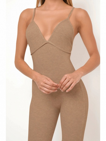 Women's Basic Khaki Gray Jumpsuit_3