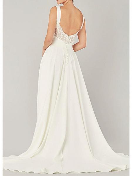A-Line Wedding Dresses V Neck Sweep \ Brush Train Chiffon Sleeveless Country Plus Size_2