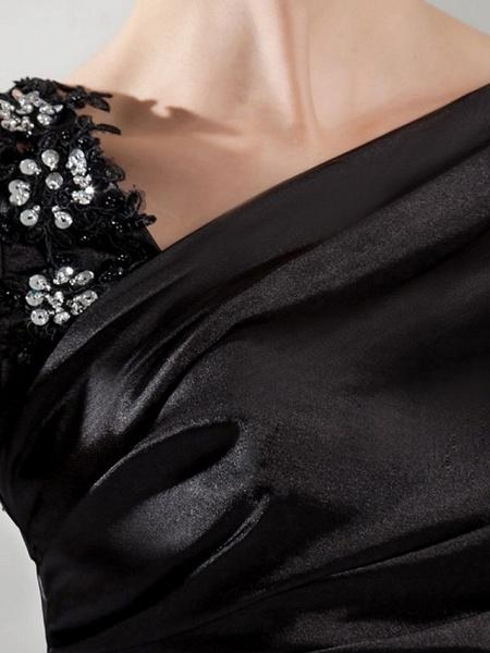 Mermaid \ Trumpet Wedding Dresses Off Shoulder Sweep \ Brush Train Satin Short Sleeve Formal Black_3