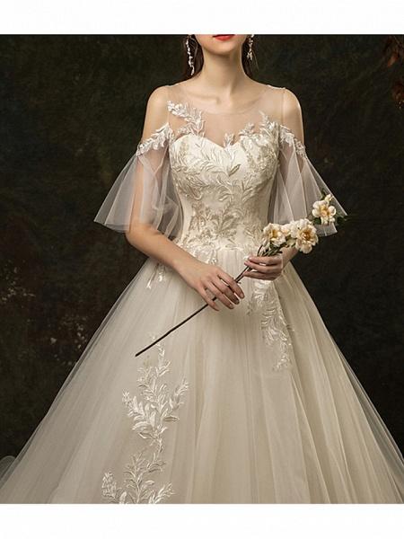 A-Line Wedding Dresses Jewel Neck Court Train Lace Half Sleeve_3