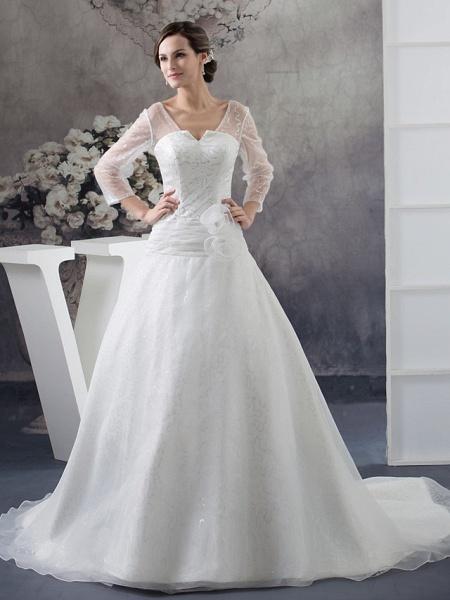 Ball Gown Wedding Dresses V Neck Chapel Train Organza Satin Long Sleeve Illusion Sleeve_1