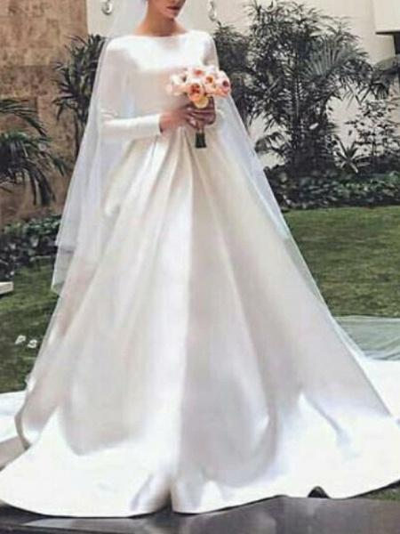 A-Line Wedding Dresses Jewel Neck Court Train Satin Long Sleeve Elegant_1