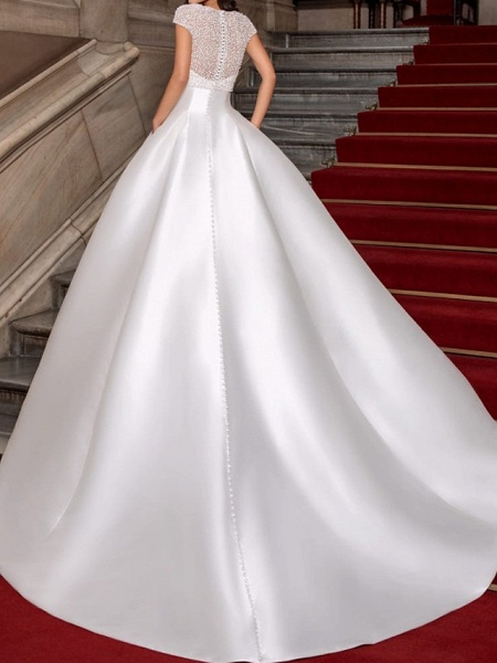 Ball Gown Sweetheart Neckline Sweep \ Brush Train Lace Satin Cap Sleeve Formal Wedding Dresses_3