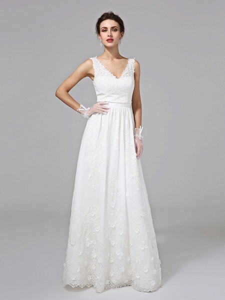 A-Line Wedding Dresses V Neck Floor Length Lace Regular Straps Simple Illusion Detail_6
