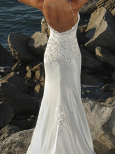 Mermaid \ Trumpet Wedding Dresses V Neck Sweep \ Brush Train Lace Sleeveless Formal Beach_3