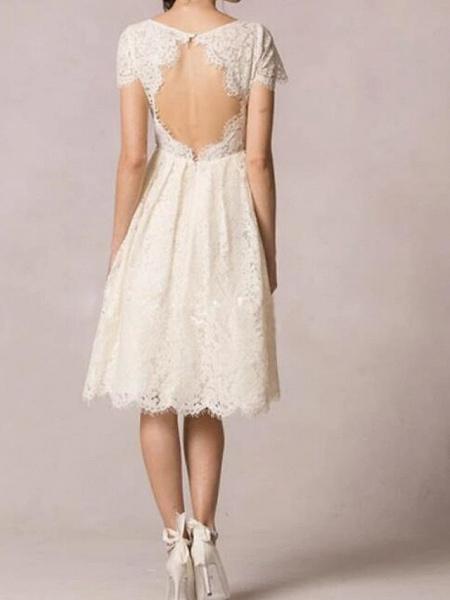 A-Line Wedding Dresses Jewel Neck Knee Length Lace Short Sleeve Casual Little White Dress Plus Size_2