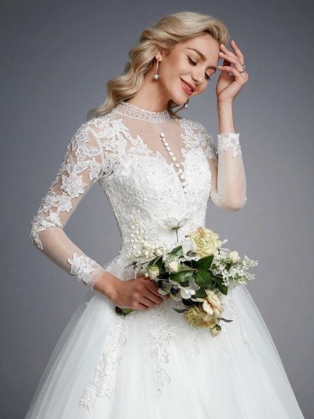 Ball Gown High Neck Court Train Lace Tulle Long Sleeve Romantic Plus Size Illusion Sleeve Wedding Dresses_8