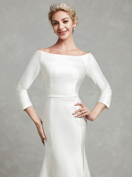 Mermaid \ Trumpet Wedding Dresses Bateau Neck Chapel Train Satin Long Sleeve Formal Little White Dress_7